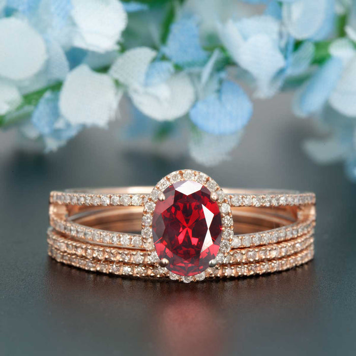 Elegant 2 Carat Oval Cut  Ruby and Diamond Engagement Ring with 2 Matching Wedding Bands in 9k Rose Gold