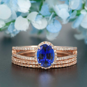 Elegant 2 Carat Oval Cut  Sapphire and Diamond Engagement Ring Trio Wedding Ring Sets in Rose Gold