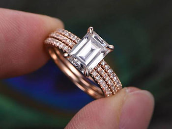 2 Carat Emerald Cut Moissanite and Diamond Trio Wedding Ring Set in Rose Gold