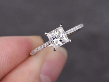 1.25 Carat Princess Cut Moissanite and Diamond Wedding Ring in White Gold
