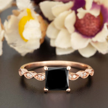 Celebrity 1.25 Carat Princess Cut Black Diamond and Diamond Engagement Ring in Rose Gold