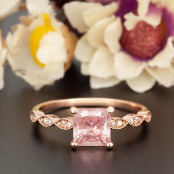Celebrity 1.25 Carat Princess Cut Peach Morganite and Diamond Engagement Ring in Rose Gold