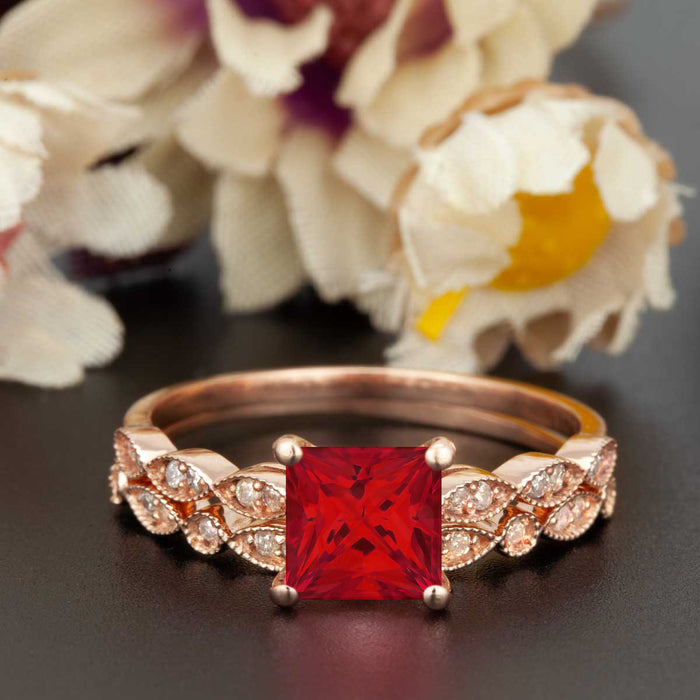 Celebrity 1.5 Carat Princess Cut Ruby and Diamond Wedding Ring Set in 9k Rose Gold