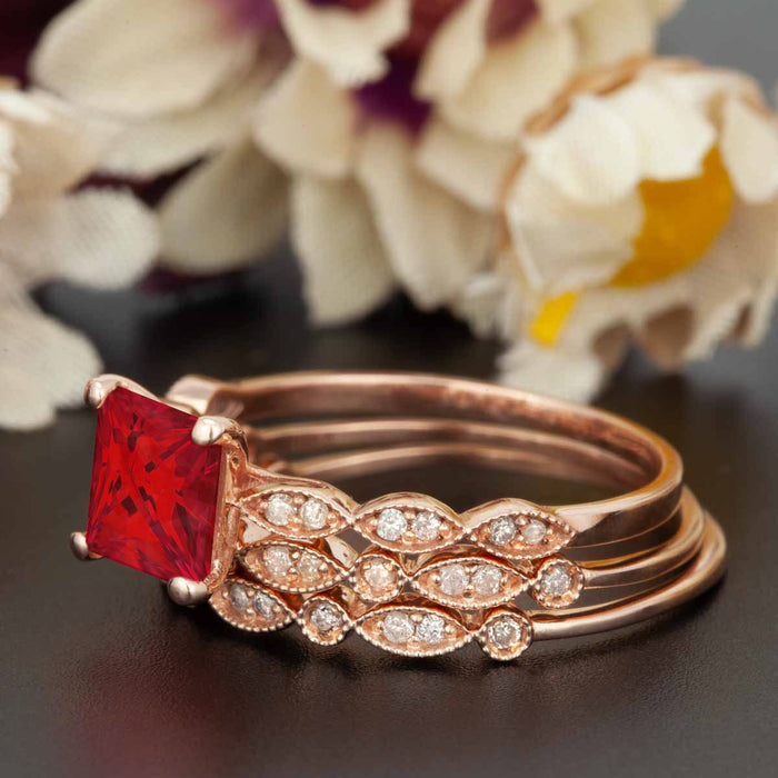 Celebrity 2 Carat Princess Cut Ruby and Diamond Trio Wedding Ring Set in 9k Rose Gold
