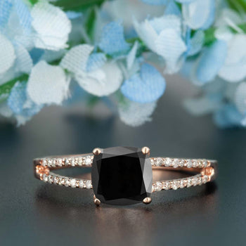 Handmade 1.25 Carat Cushion Cut Black Diamond and Diamond Engagement Ring in Rose Gold