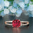 Handmade 1.25 Carat Cushion Cut Ruby and Diamond Engagement Ring in 9k Rose Gold