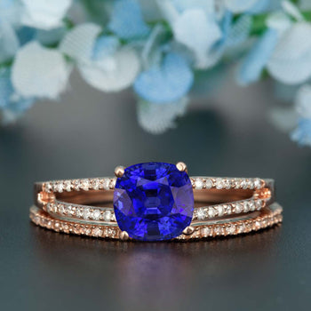 Handmade 1.50 Carat Cushion Cut Sapphire and Diamond Wedding Ring Set in Rose Gold