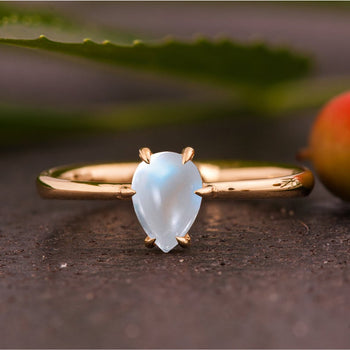 Solitaire 1.50 Carat Pear Shape Cabochon Cut Blue Moonstone 6 Prong Engagement Ring in Yellow Gold