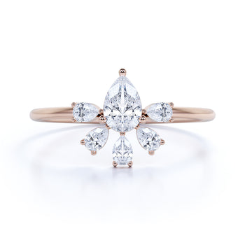 Stunning Pear Cut Diamonds Stacking Ring in Rose Gold