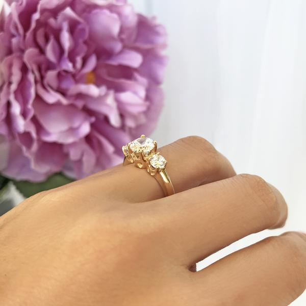 2 Carat Three Stones Filigree Engagement Ring in Yellow Gold over Sterling Silver