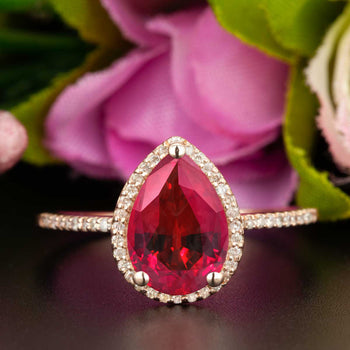 Classic 1.25 Carat Pear Cut Ruby and Diamond Engagement Ring in 9k Rose Gold