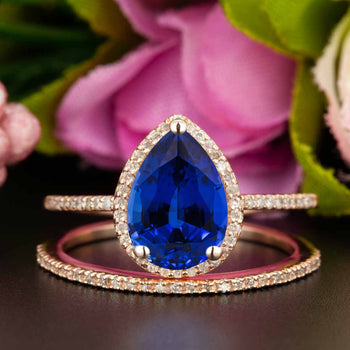 Classic 1.50 Carat Pear Cut Sapphire and Diamond Bridal Ring Set in Rose Gold