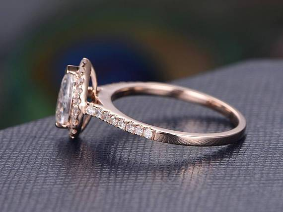 1.50 Carat Pear Cut Moissanite and Diamond Halo Engagement Ring in Rose Gold
