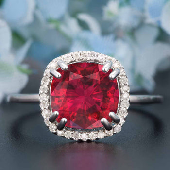 1.25 Carat Cushion Cut Halo Ruby and Diamond Engagement Ring in 9k White Gold