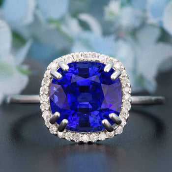1.25 Carat Cushion Cut Halo Sapphire and Diamond Engagement Ring in White Gold