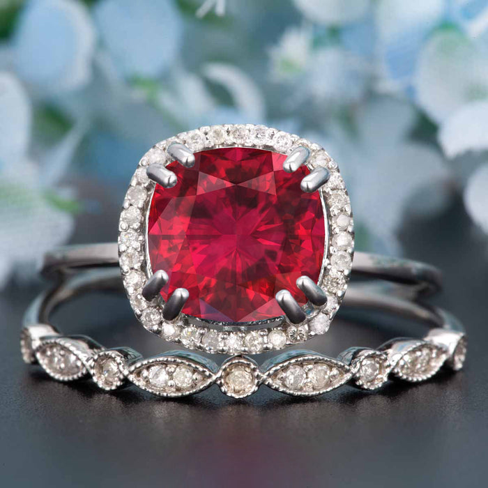 1.5 Carat Cushion Cut Halo Ruby and Diamond Wedding Ring Set in 9k White Gold