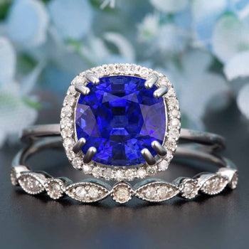 1.50 Carat Cushion Cut Halo Sapphire and Diamond Wedding Ring Set in White Gold
