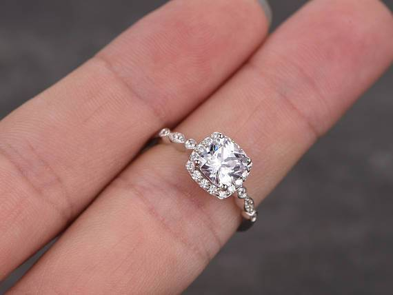 1.50 Carat Cushion Cut Moissanite and Diamond Halo Wedding Ring in White Gold
