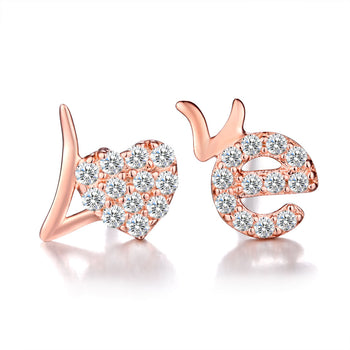 .20 Carat Round Cut Diamond Love Stud Earrings in Rose Gold