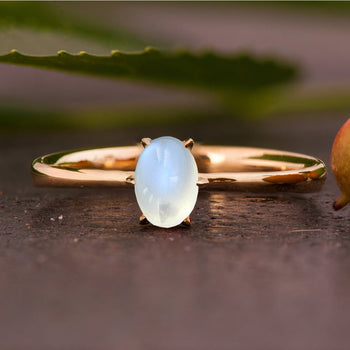 6 Prong 1.25 Carat Oval Cabochon Cut Blue Moonstone Solitaire Engagement Ring in Yellow Gold