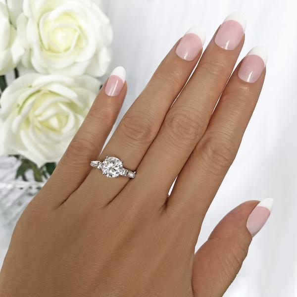 Final Sale: 2 Carat Round Cut Baguette Solitaire Engagement Ring in White Gold over Sterling Silver