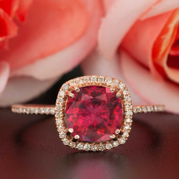 1.25 Carat Cushion Cut Halo Ruby and Diamond Engagement Ring in 9k Rose Gold Designer Ring
