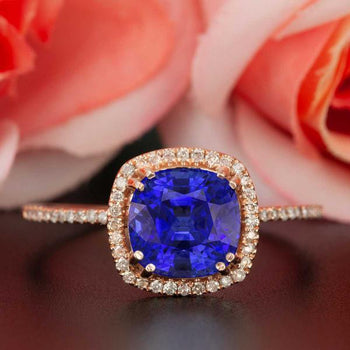 1.25 Carat Cushion Cut Halo Sapphire and Diamond Engagement Ring in Rose Gold Designer Ring
