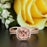 Stunning 2 Carat Cushion Cut Peach Morganite and Diamond with Matching Band in 9k Rose Gold