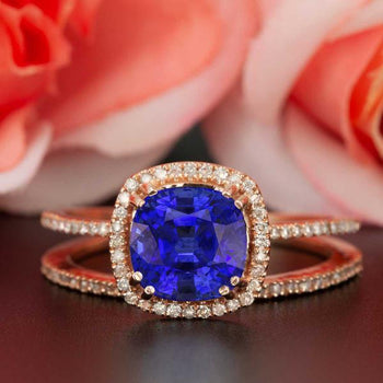 1.50 Carat Cushion Cut Halo Sapphire and Diamond Wedding Ring Set in Rose Gold Designer Ring