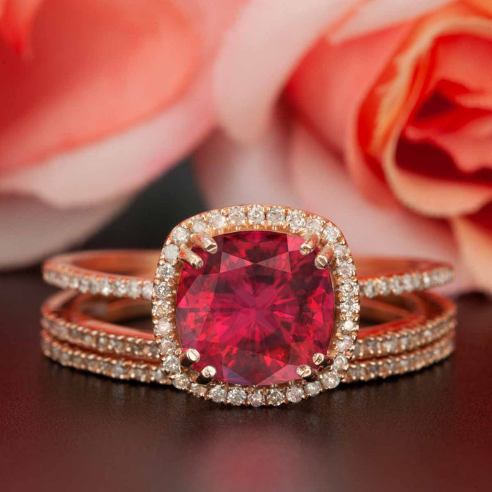 2 Carat Cushion Cut Halo Ruby and Diamond Trio Wedding Ring Set in 9k Rose Gold Designer Ring