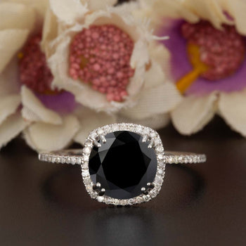 1.25 Carat Cushion Cut Halo Black Diamond and Diamond Engagement Ring in White Gold Designer Ring