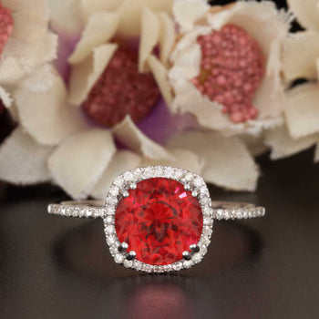 1.25 Carat Cushion Cut Halo Ruby and Diamond Engagement Ring in 9k White Gold Designer Ring