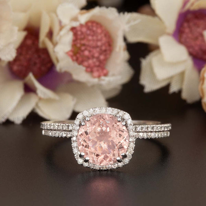 1.5 Carat Cushion Cut Peach Morganite and Diamond with Matching Wedding Band in 9k White Gold