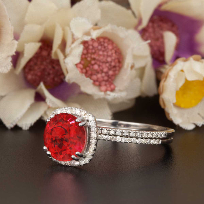 1.5 Carat Cushion Cut Halo Ruby and Diamond Wedding Ring Set in 9k White Gold Designer Ring