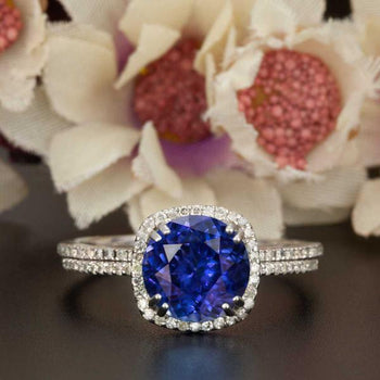 1.50 Carat Cushion Cut Halo Sapphire and Diamond Wedding Ring Set in White Gold Designer Ring