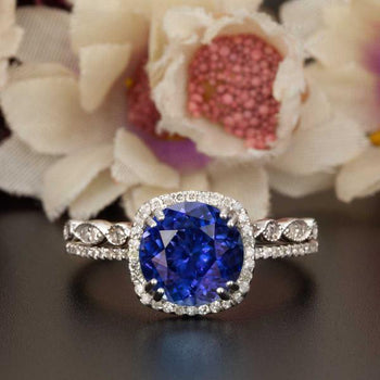 1.50 Carat Cushion Cut Halo Sapphire and Diamond Bridal Ring Set in White Gold
