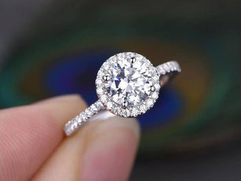 1.50 Carat Round Cut Moissanite and Diamond Halo Wedding Ring in White Gold