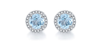 2.50 Carat Round Cut Aquamarine and Diamond Halo Stud Earrings in White Gold