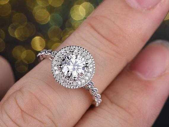 2 Carat Round Cut Moissanite and Diamond Halo Wedding Ring in White Gold