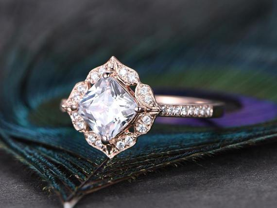 1.50 Carat Cushion Cut Moissanite and Diamond Engagement ring for Her in Rose Gold