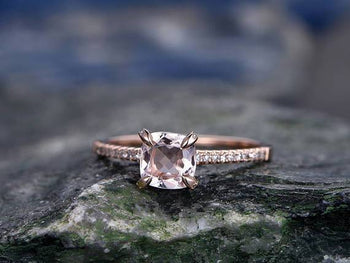 Delicate 1.25 Carat Cushion Cut Morganite and Diamond Engagement Ring in Rose Gold