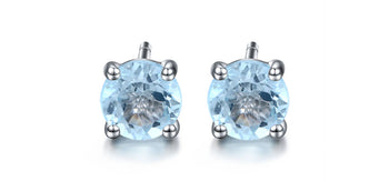2 Carat Round Cut Aquamarine 4 Prong Stud Earrings in White Gold