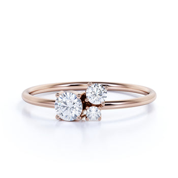 Round Cut Diamond Trio Mini Stackable Ring in Rose Gold