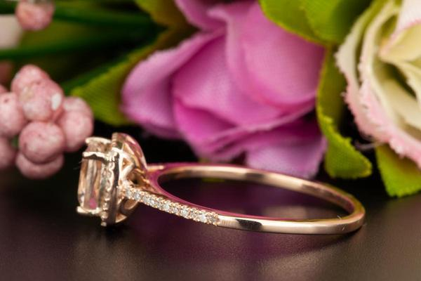 1.25 Carat Cushion Cut Halo Sapphire and Diamond Engagement Ring in Rose Gold for Women