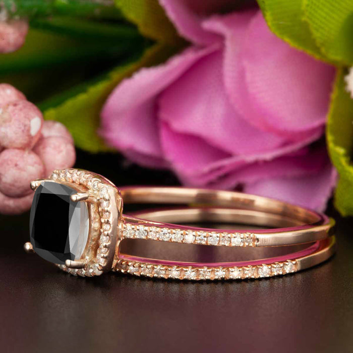 1.5 Carat Cushion Cut Halo Black Diamond and Diamond Bridal Ring Set in 9k Rose Gold for Women