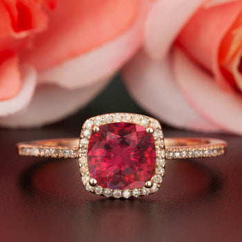 1.25 Carat Cushion Cut Halo Ruby and Diamond Engagement Ring in 9k Rose Gold for Women