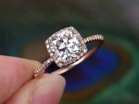 1.50 Carat Round Cut Moissanite and Diamond Halo Engagement Ring in 9k Rose Gold