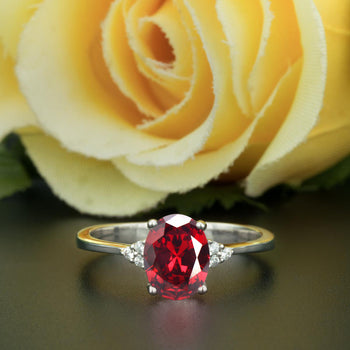 1.25 Carat Oval Cut Ruby and Diamond Engagement Ring in 9k White Gold Elegant Ring