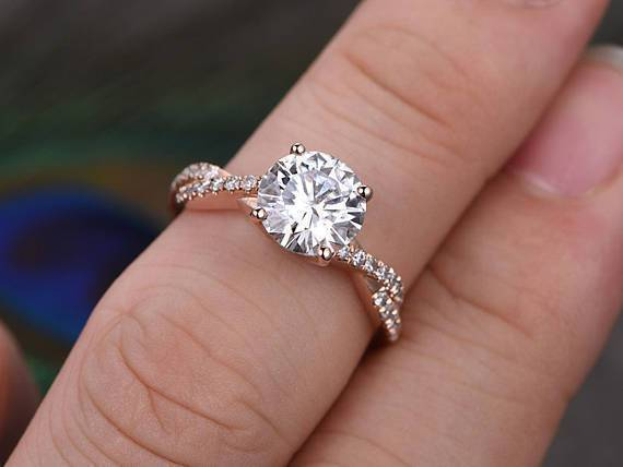 1.25 Carat Infinity Round Cut Moissanite and Diamond Engagement Ring in 9k Rose Gold