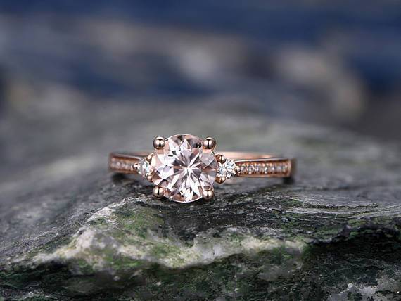 Three Stone 1.50 Carat Morganite and Diamond Engagement Ring in Rose Gold